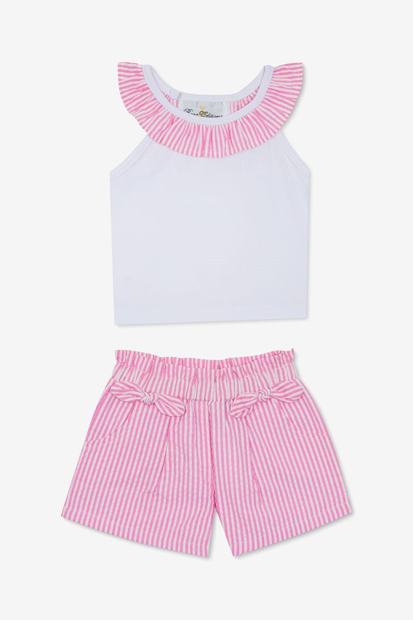 Baby Girls 2-Pc. Top & Seersucker Shorts Set, Pink/White