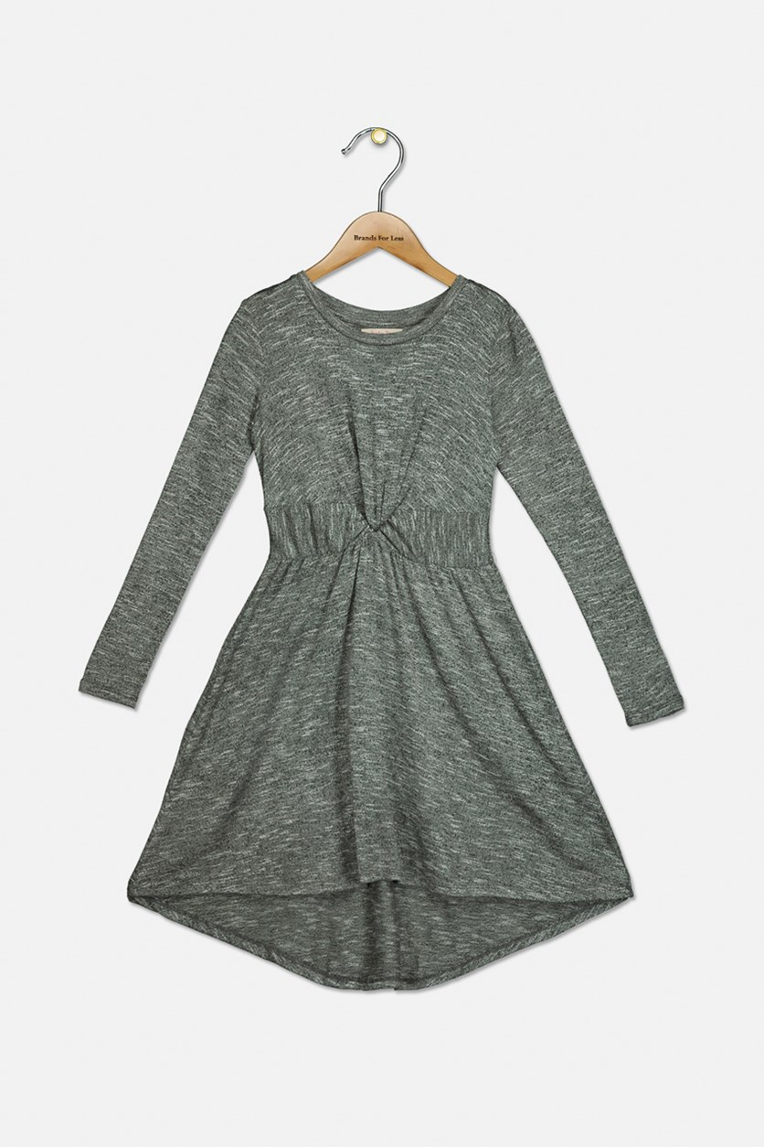 Big Girl's Hilary Twisted High-low Dress, Grey