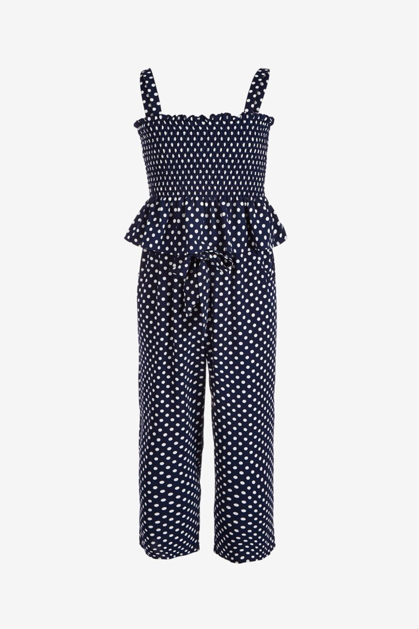 Big Girls 2-Pc. Dot-Print Top & Pants Set, Navy Blue