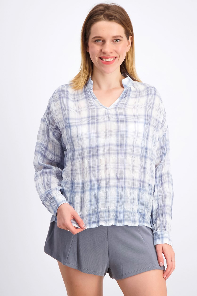 Women's Long Sleeves Plaid Blouse, Blue/White