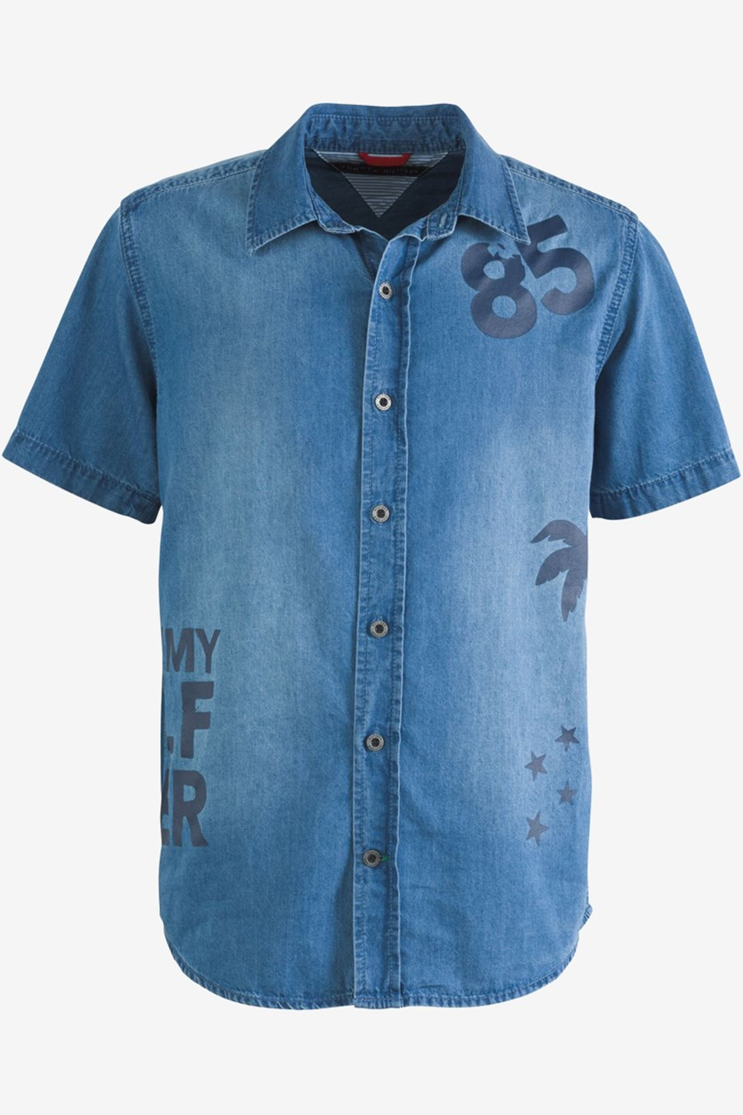 Toddler Boys Larry Logo-Print Denim Shirt, Medum Blue Wash