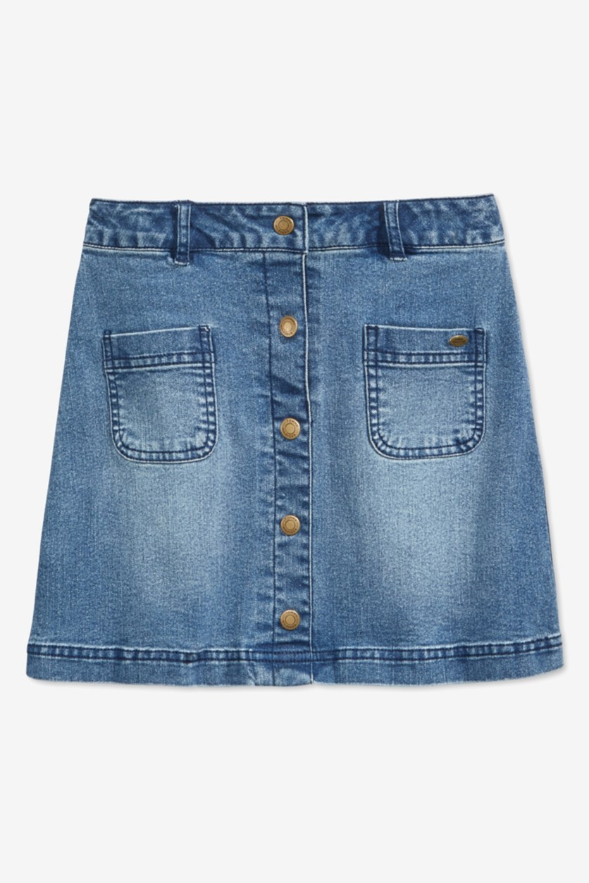 Kids Girls Button-Front Denim Skirt, Med Wash
