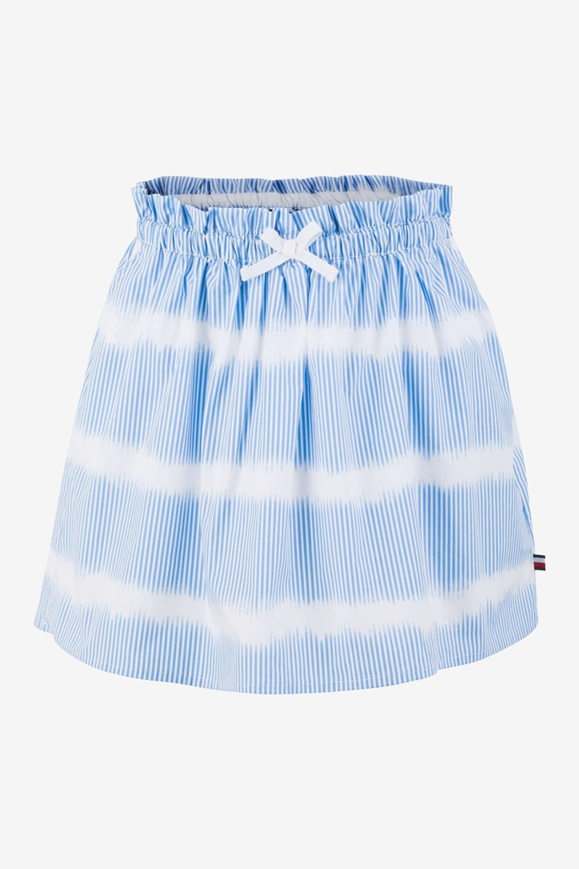 Big Girls Cotton Striped Skirt, Blue/White