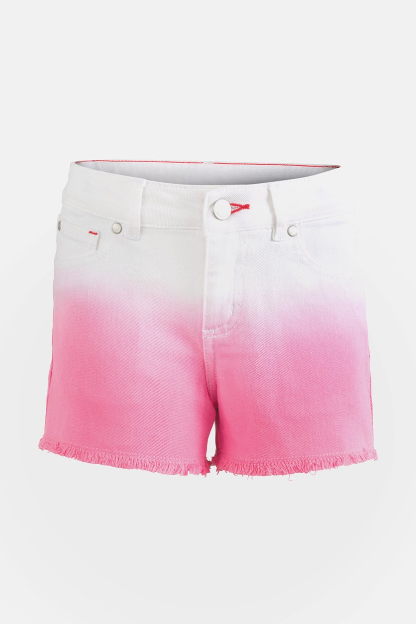 Toddler Girls Ombre Denim Shorts, White/Pink