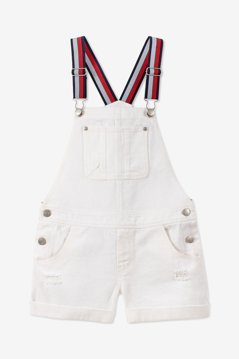 Toddler Girls Cotton Striped-Strap Denim Shortalls, White