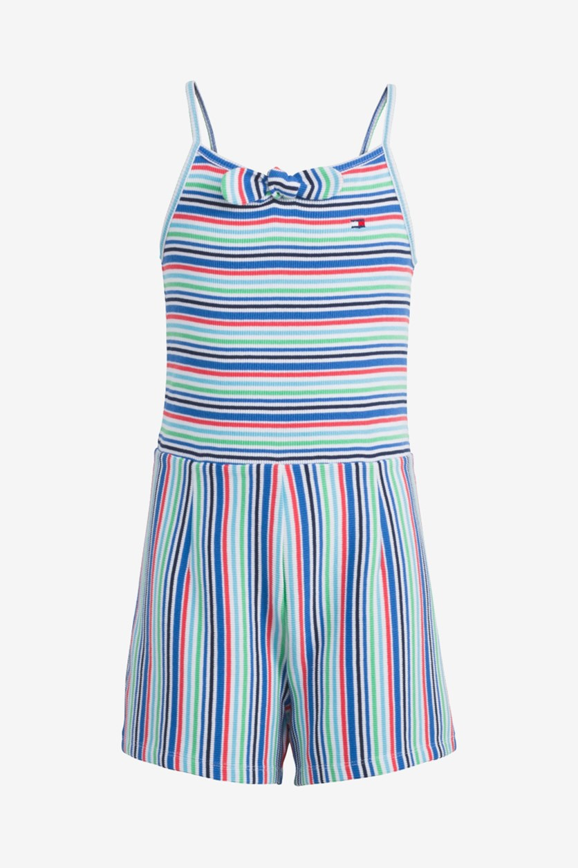 Toddler Girls Striped Ribbed Romper, Blue/Red/Green Combo
