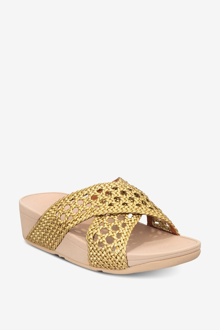 Women's Lulu Wicker Wedge Platform Slide Sandals, Artisan Gold