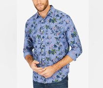 Nautica Men's Floral-Print Shirt, Blue
