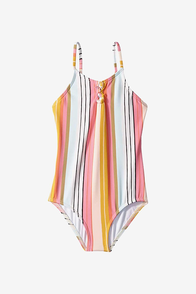Girls One Piece Sunny Song Striped Swimsuit, Pink Combo