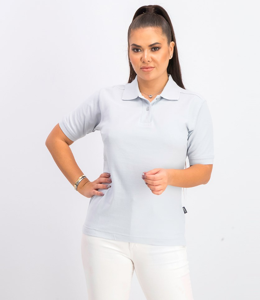 Women's Pullover Plain Polo Shirt, Blue/Pearl