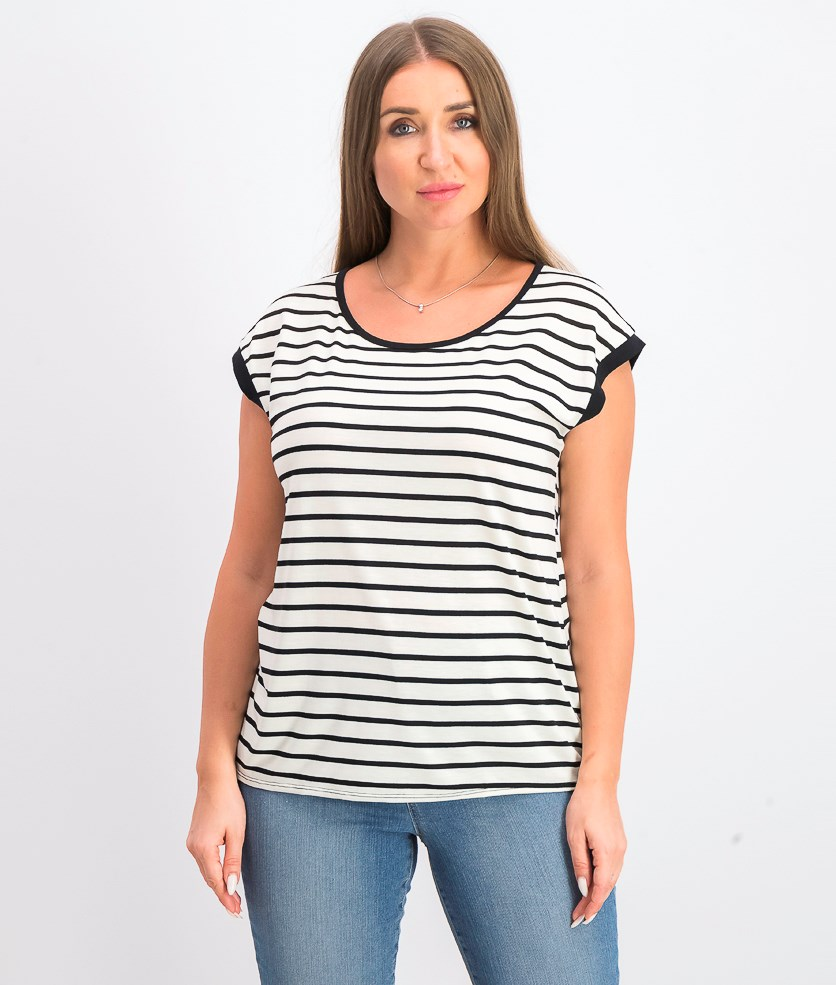 Women's Stripe Top, White/Black