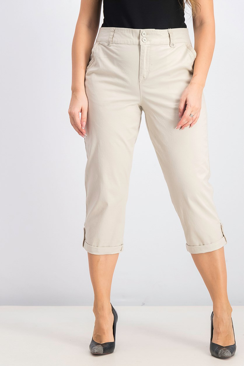 Women's Roll Cuff Capri, Stone Wood