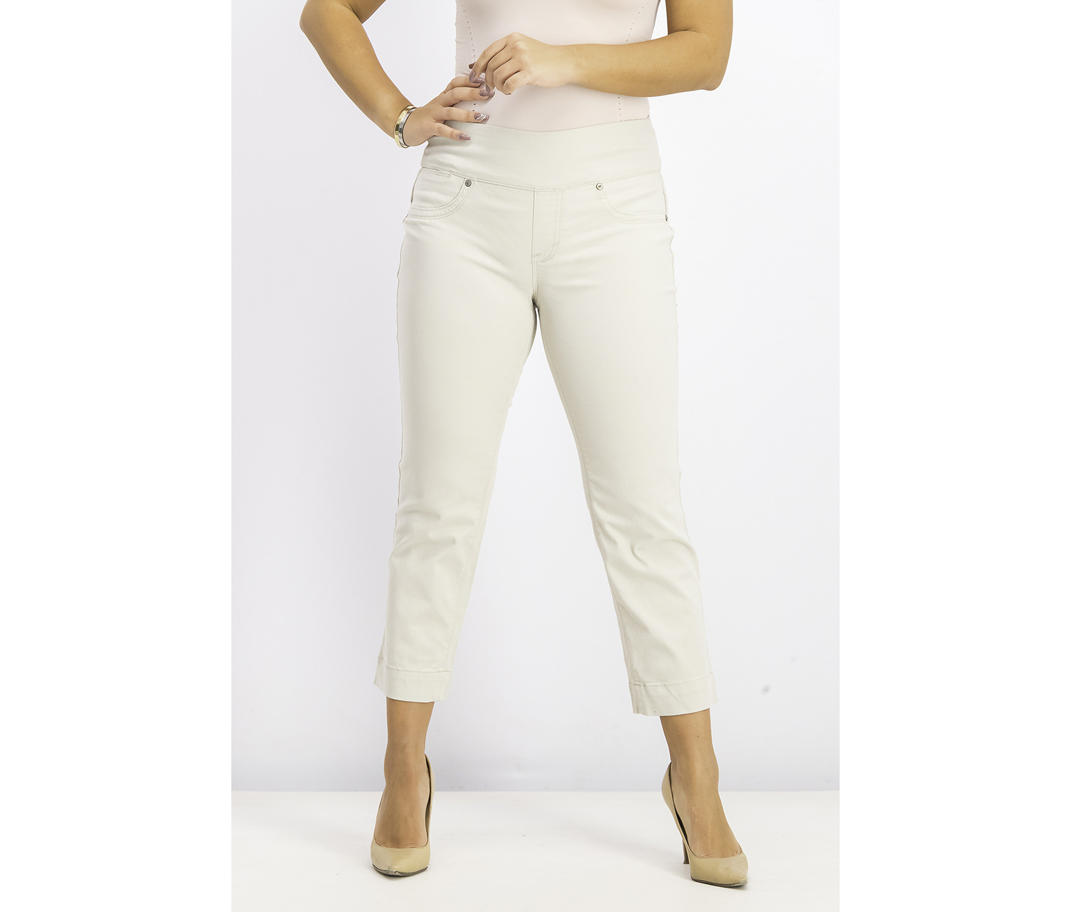 Pull-On Capri Jeans, Stonewall