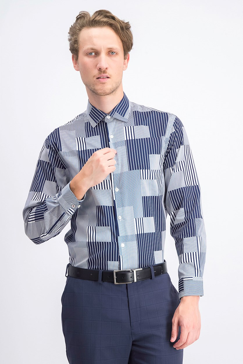 Men's Stripe Dress Shirt, Navy