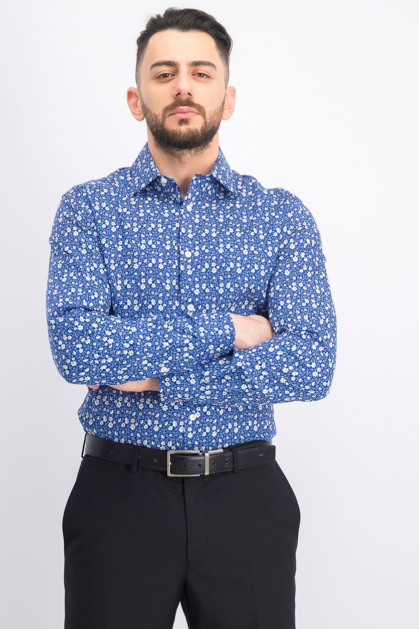 Men's Slim-Fit Floral Dress Shirt, Aqua/Blue Combo