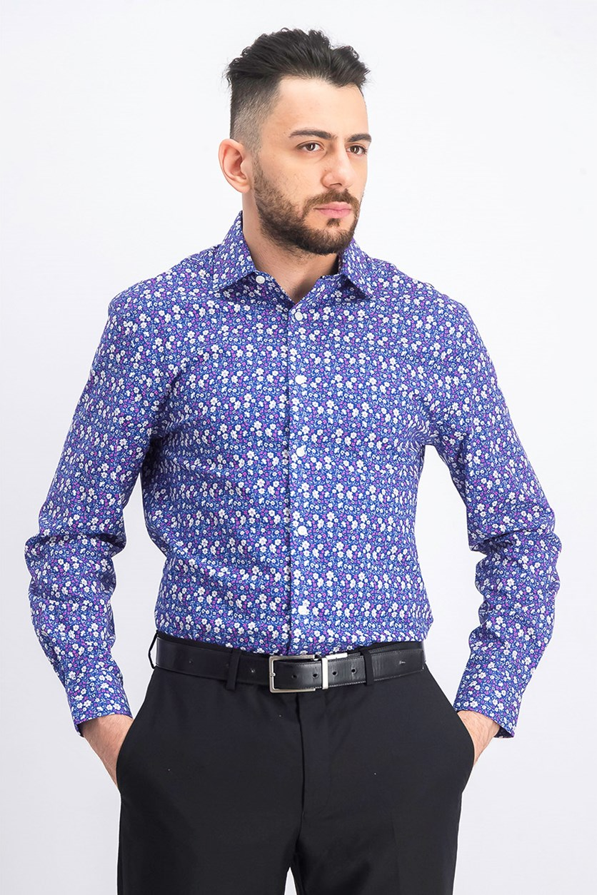 Men's Slim-Fit Floral Dress Shirt, Magenta/Blue Combo