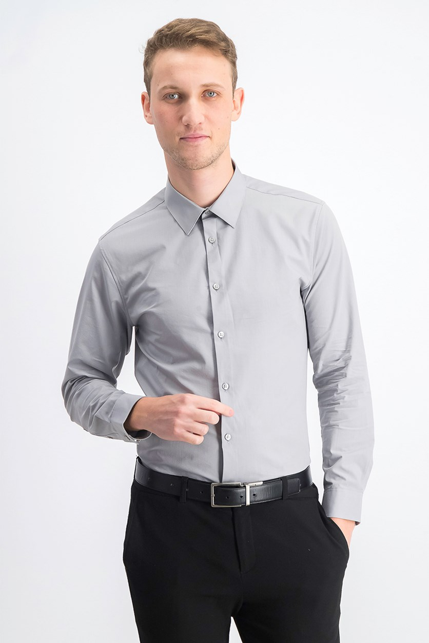 Men's Slim Fit Wrinkle-Free Solid Dress Shirt, Grey