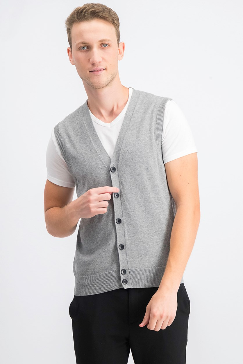 Mens Sweater Vest, Smoke Heather