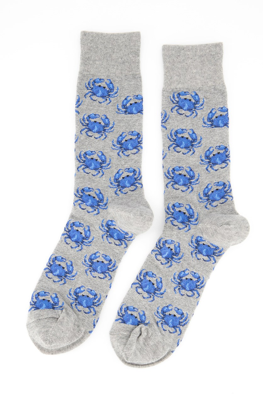 Men's Crabs Crew Socks,Gray/Blue