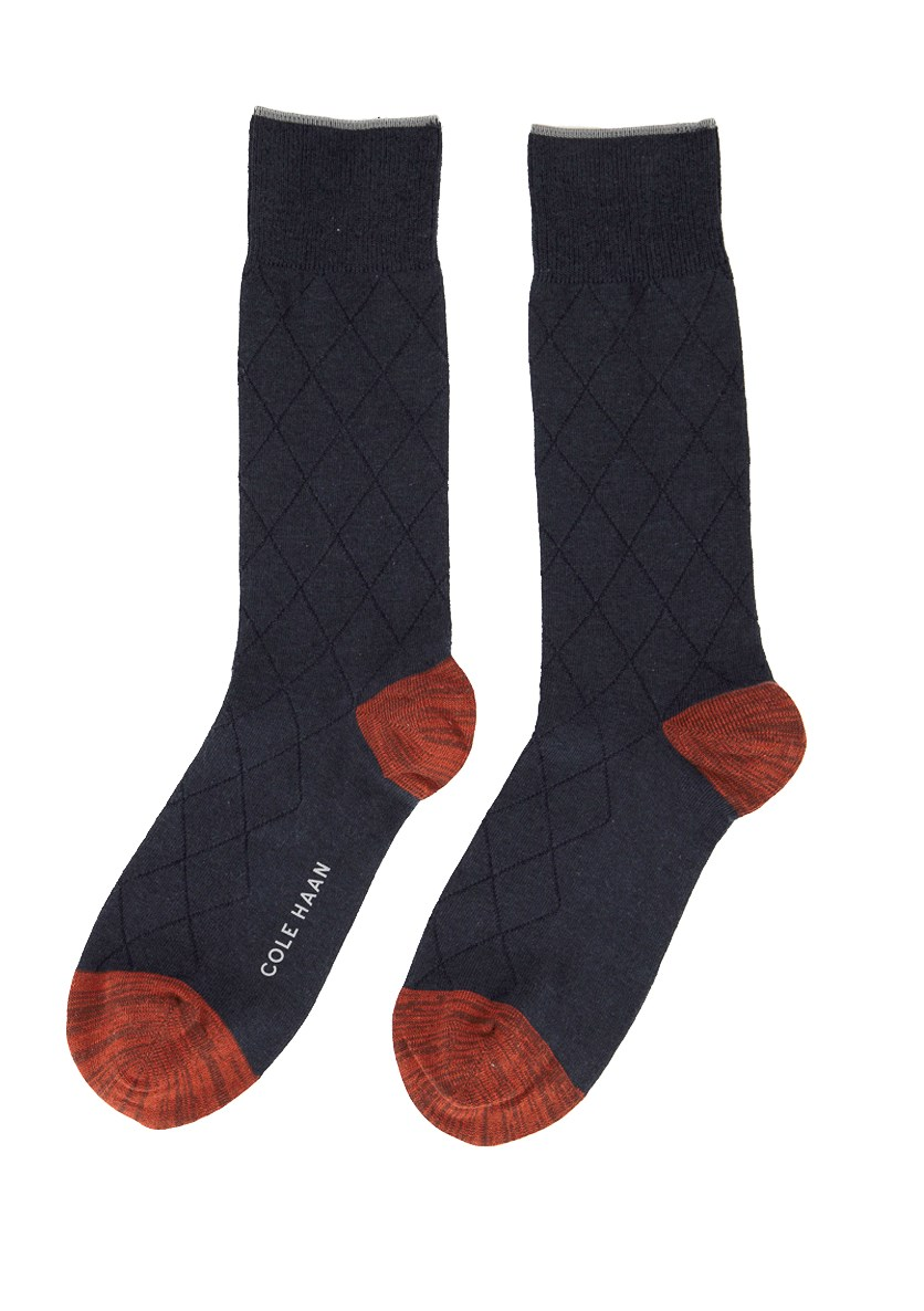 Men's Crew Socks, Navy/Brown