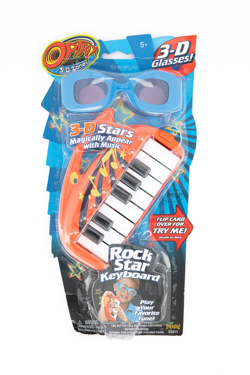 3D Stars Glasses & Keyboard Magical Appear With Music, Blue/Red Combo