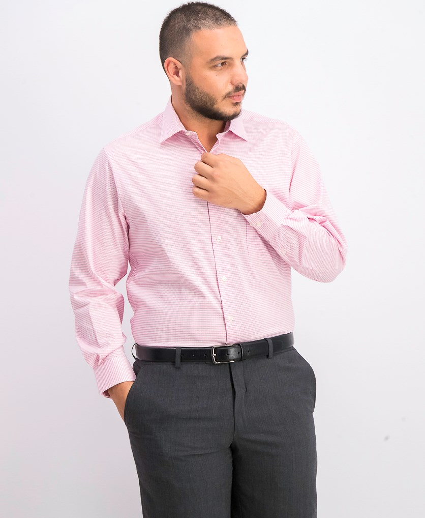 Men's Regular Fit Long Sleeves Button-Down Shirt, Pink Glaze