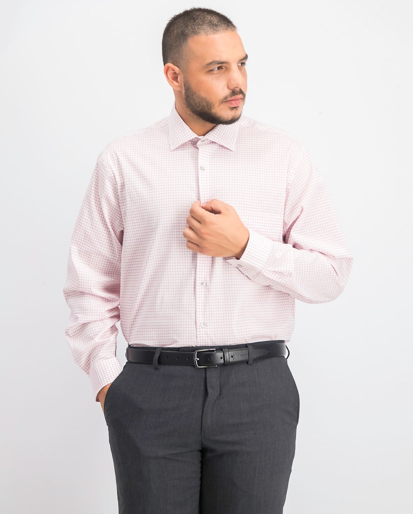 Mens Checkered Regular Fit Dress Shirt, Pink Combo