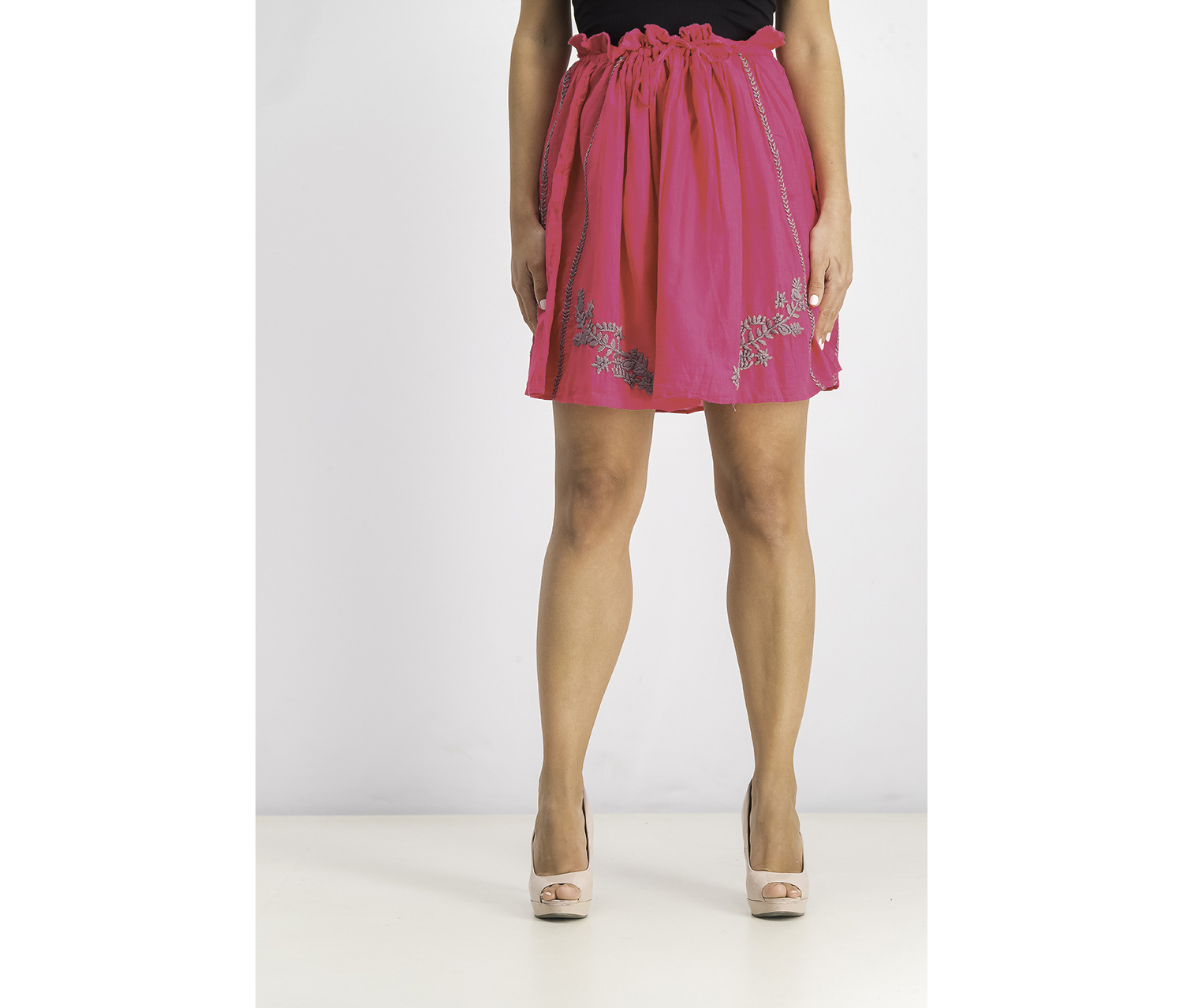 Womens Embroidered Knit Skirt, Pink