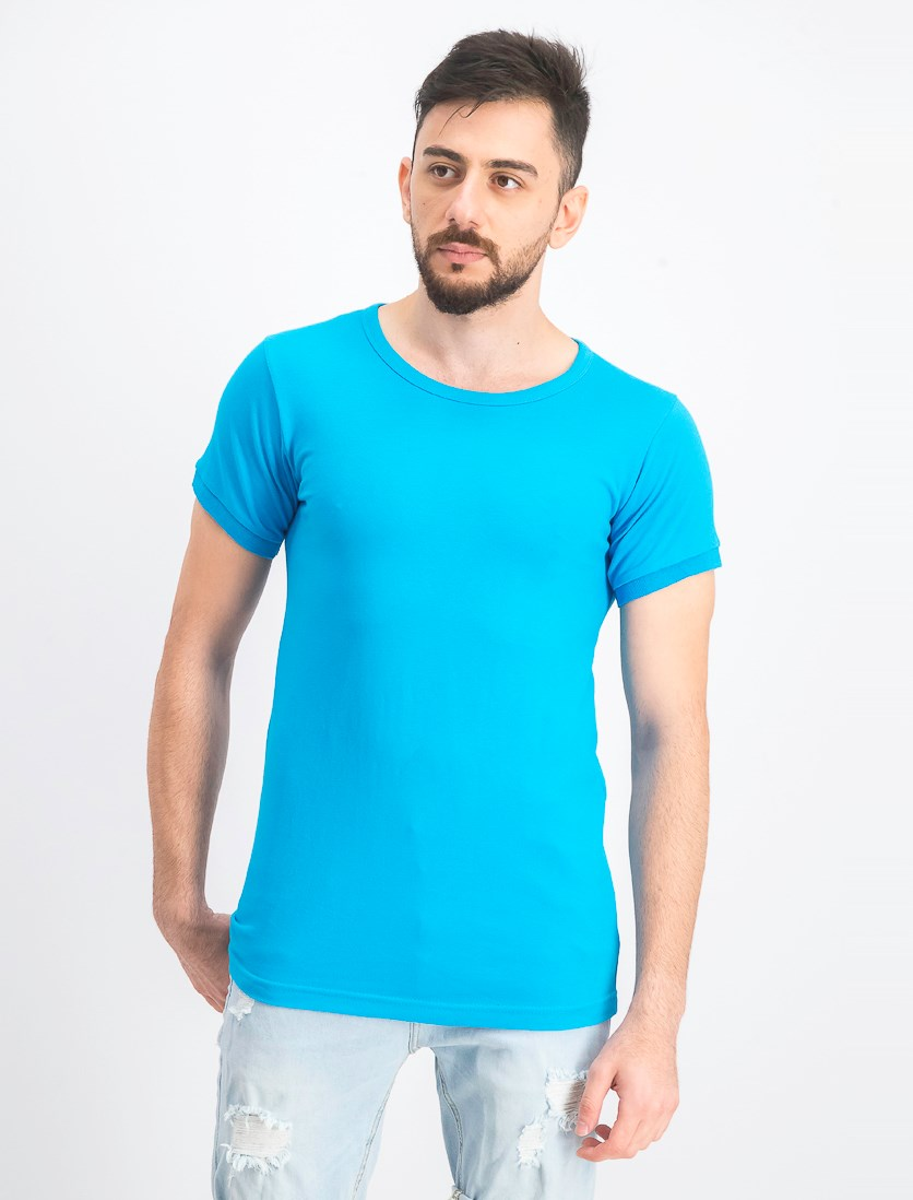 Men's Plain Cotton Round Neck T-Shirt, Blue