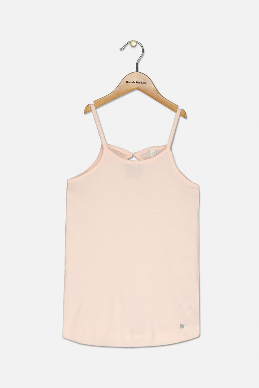 Kids Girls Sleeveless Tee, Peach