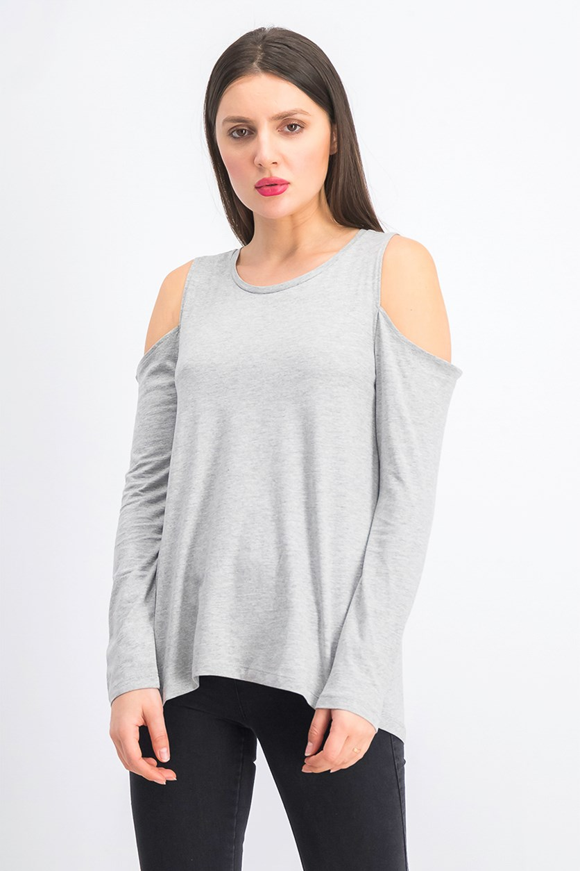 Women's Cold Shoulder Long Sleeve Top, Grey