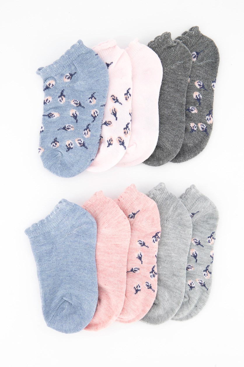 Girl's 10 Pack No Show Chevron Socks,Pink/Grey/Blue
