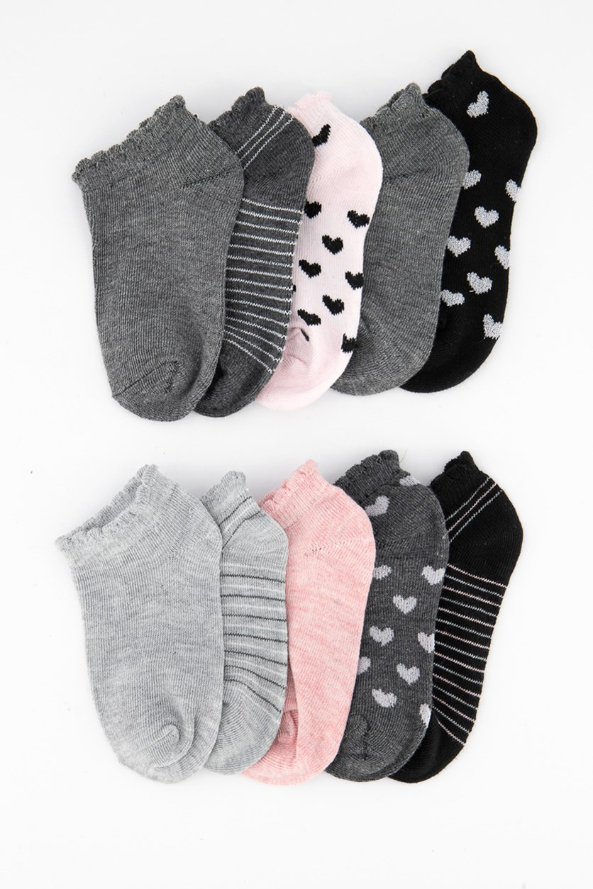 Girl's 10 Pairs No Show Stripe With Lurex Socks, Grey/Pink/Black