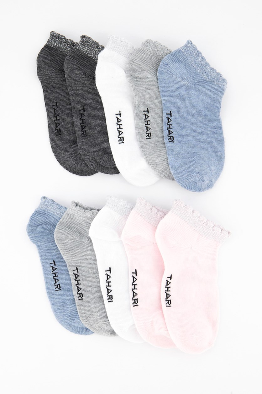 Girl's 10 Pairs No Show Oversize Lurex Scallop Socks, Blue/Light Grey/Pink/White