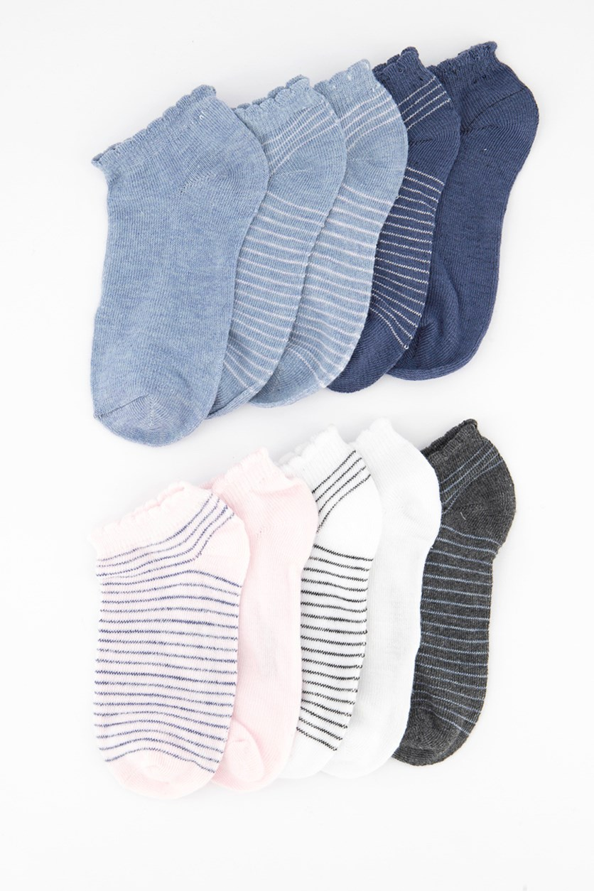 Boy's 10 Pairs Stripe Socks, Grey/Pink/Blue/White
