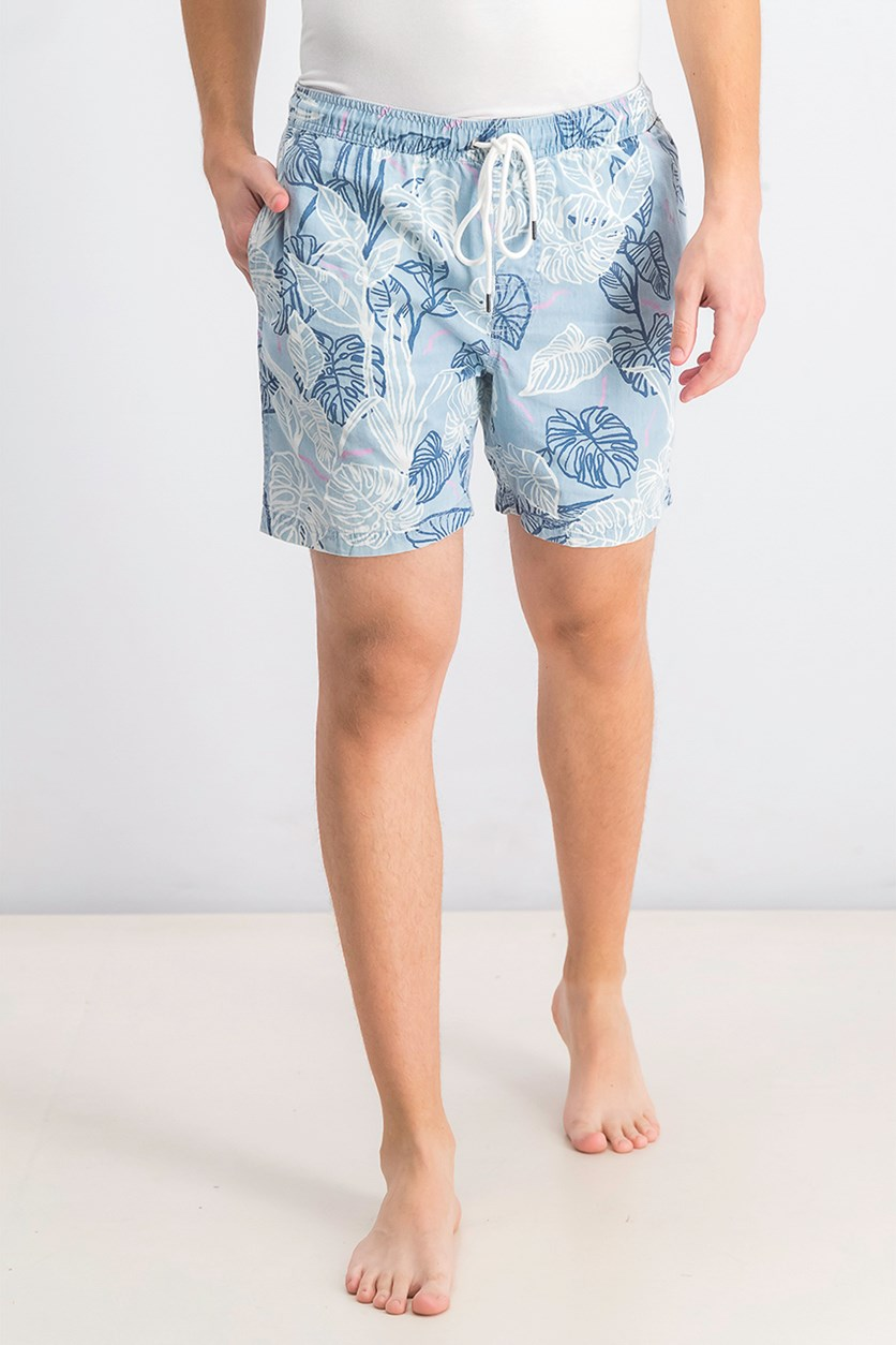 Men's Tropical-Print Board Shorts, Floral Blue