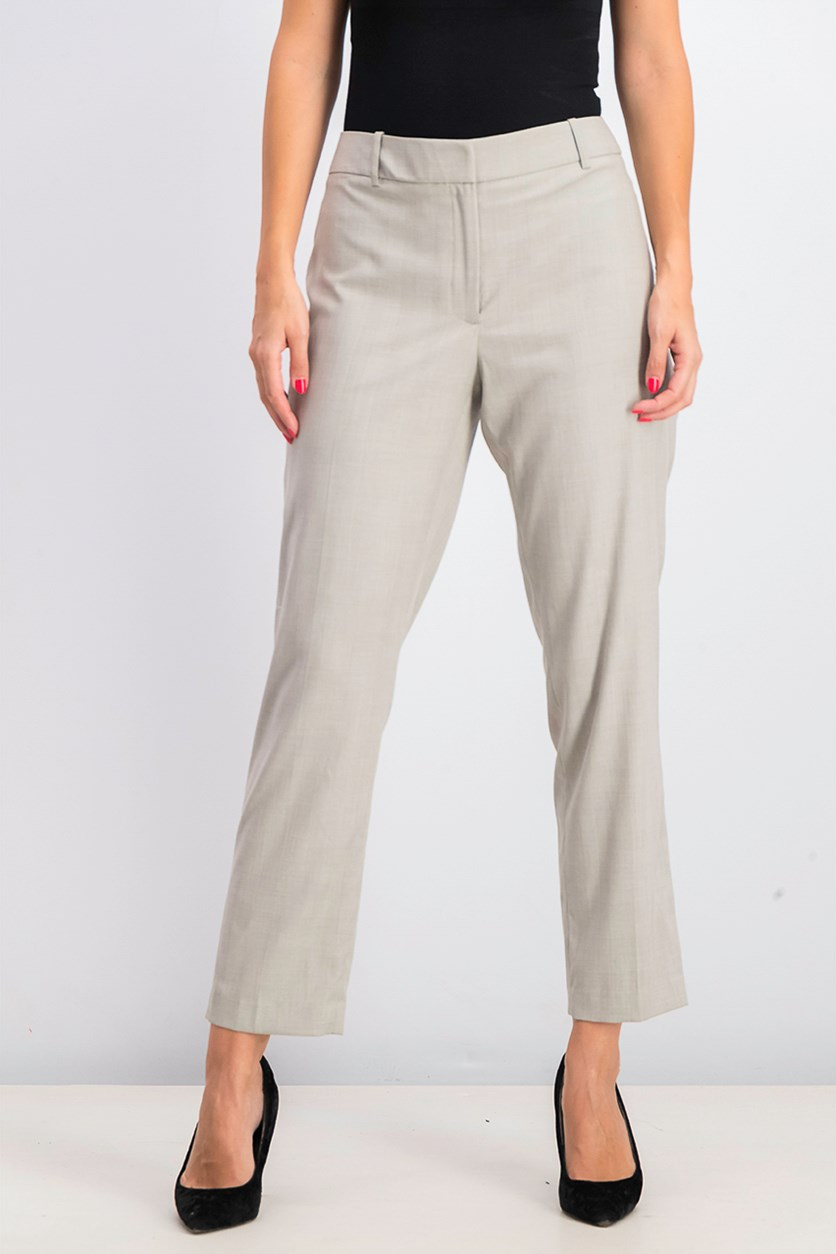 Women's Plaid Slim Fit Pants, Grey