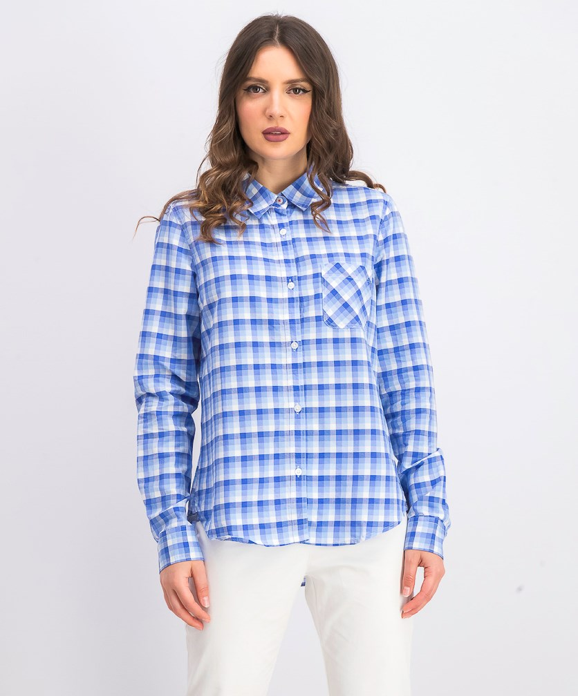 Women's Elrosa Plaid Shirt, Blue/White