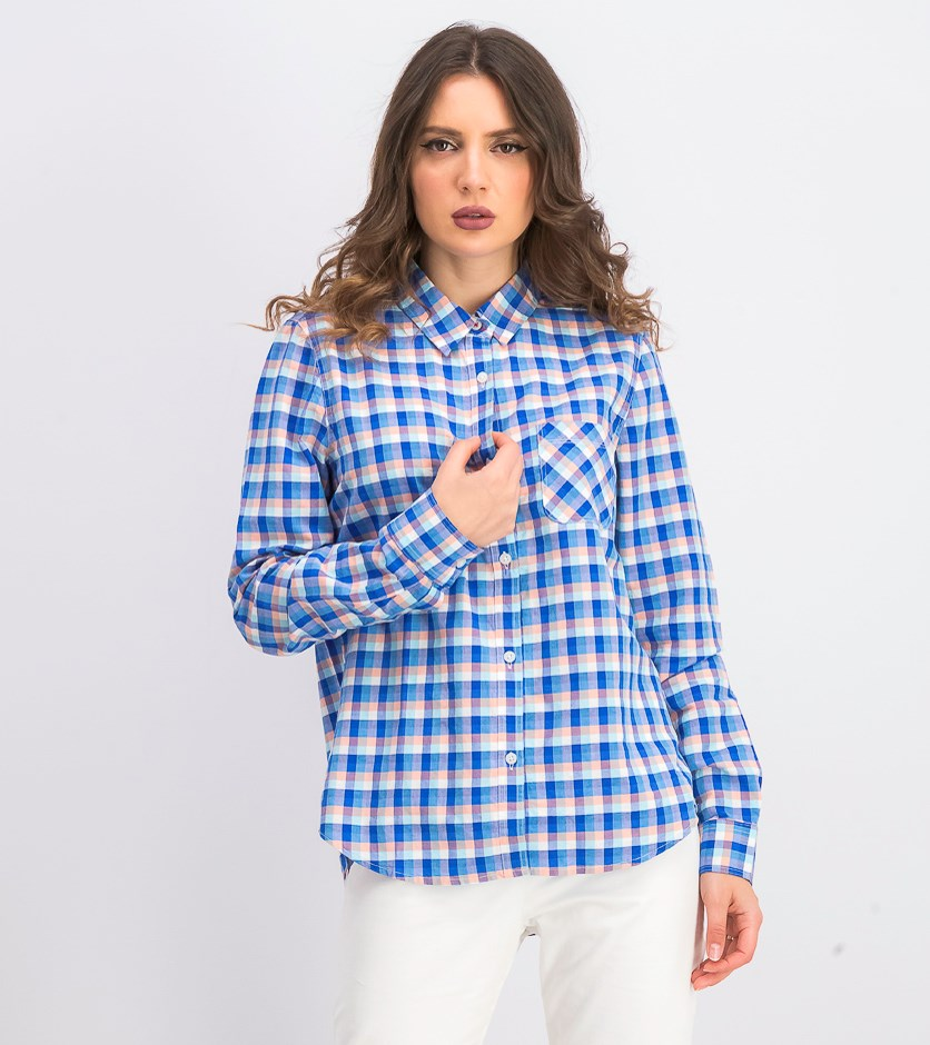 Women's Foley Plaid Shirt, Pink/Blue