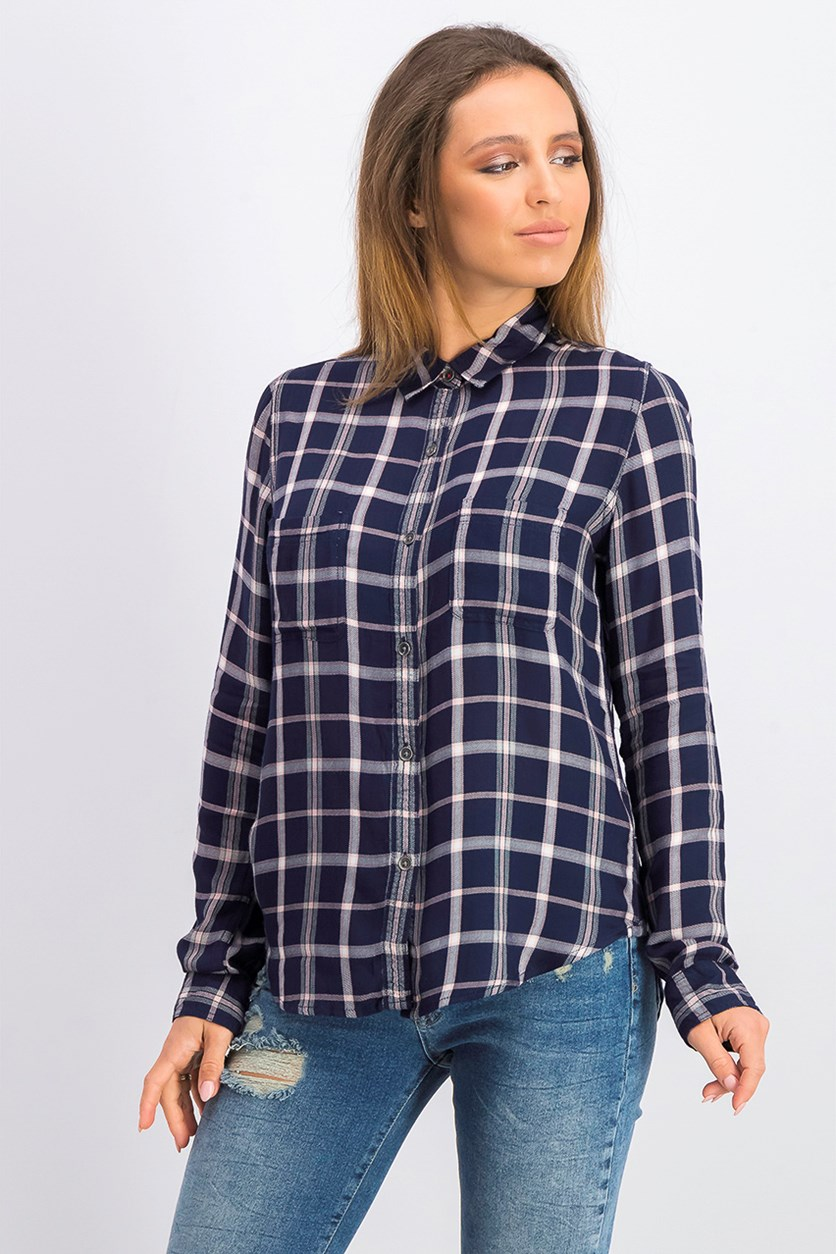 Women's Button Down Plaid Shirt, Navy/Pink