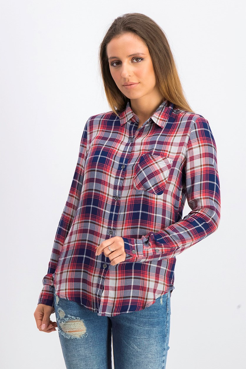 Women's Long Sleeve Plaid Shirt, Navy Combo