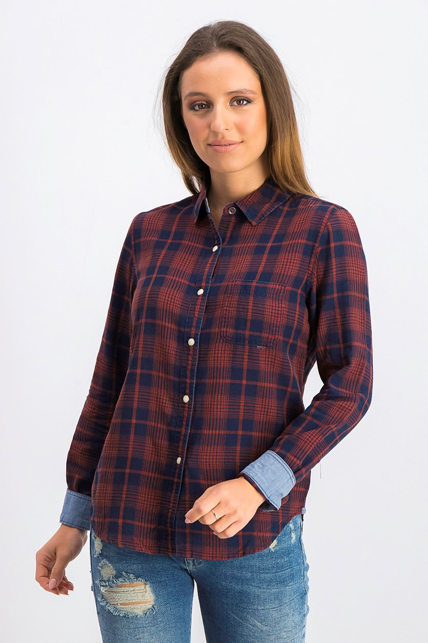 Women's Plaid Long Sleeve Shirt, Red/Navy