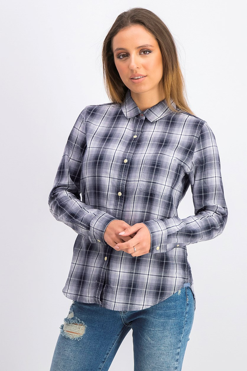 Women's Plaid Long Sleeve Shirt, Grey/Black