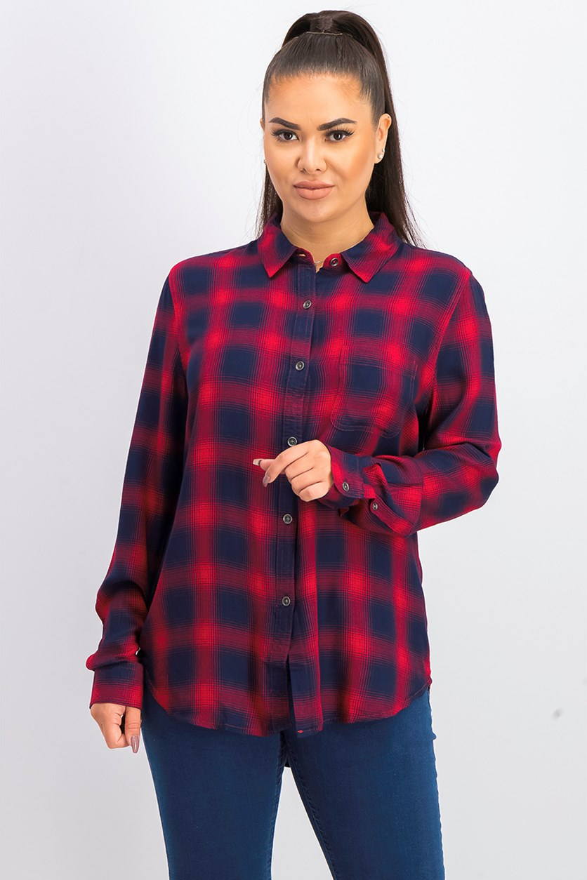 Women's Plaid Shirt, Navy/Red