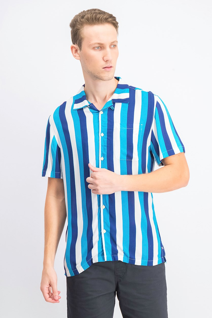 Men's Short-Sleeve Striped Classic Fit Shirt, Blue