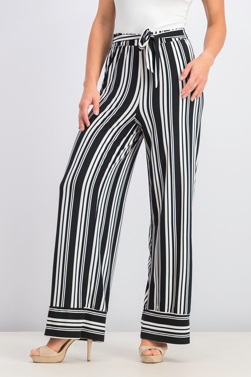 Juniors' Striped Wide-Leg Pants, Black