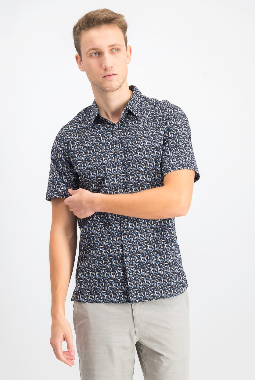 Men's Geometric-Print Casual Shirt, Eclipse