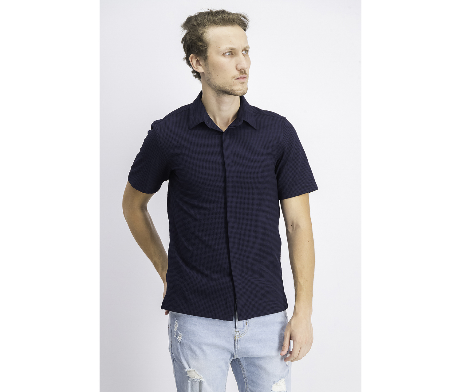 Men's Short Sleeve Button-Up Seersucker Sport Shirt, Eclipse