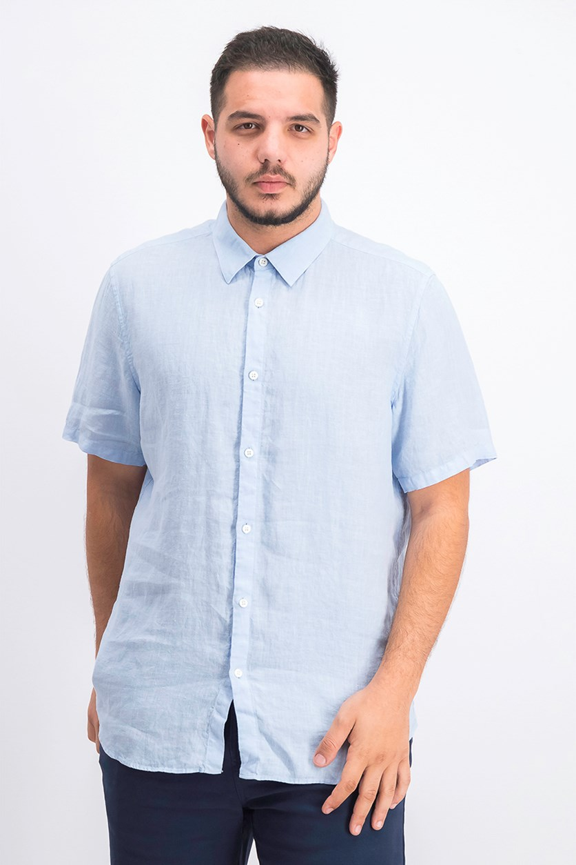 Men's Summer Linen Casual Shirt, Sky Light