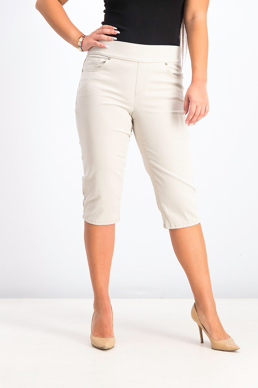 Petite Pull-On Skimmer Jeans, Stonewall